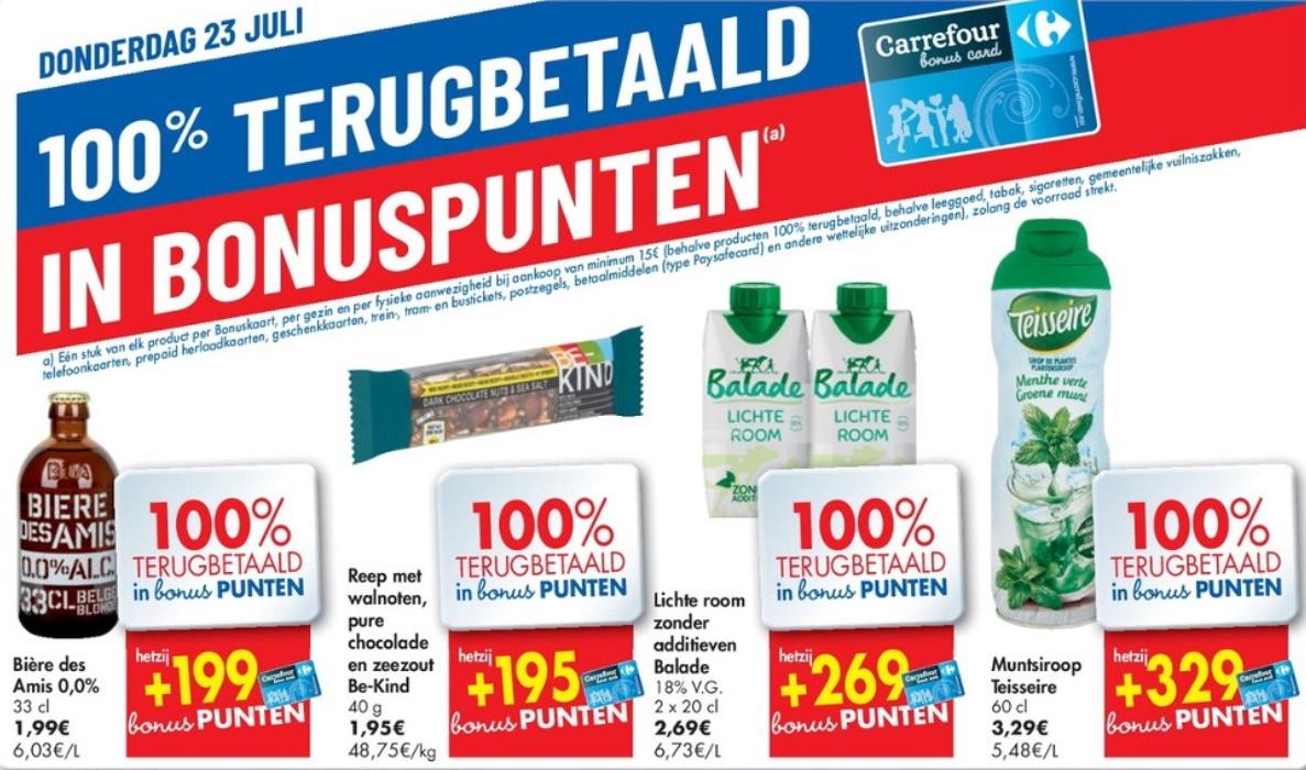 100% terugbetaalde producten bij Carrefour op 23 juli 2020
