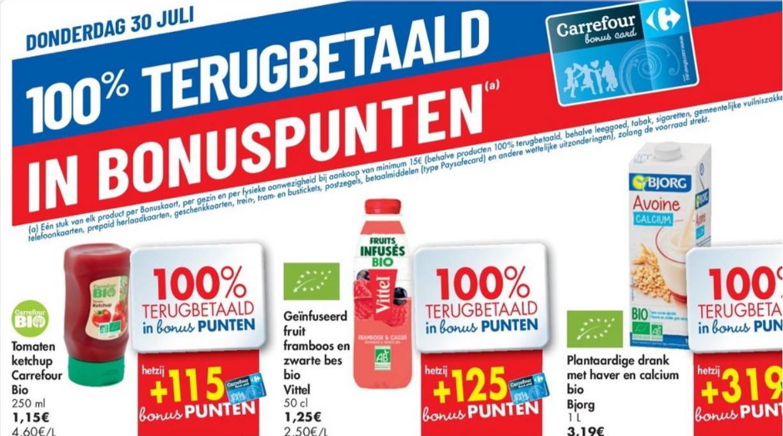 100% terugbetaalde producten bij Carrefour op 30 juli 2020