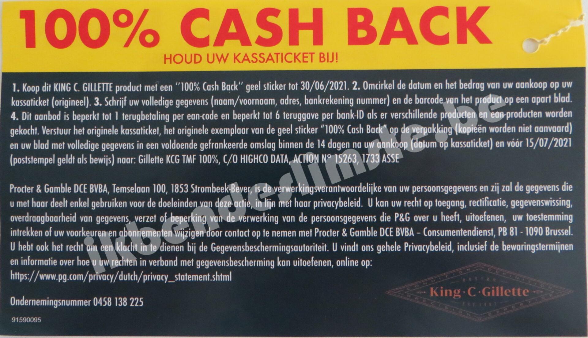 Gillette King C producten 100% terugbetaald