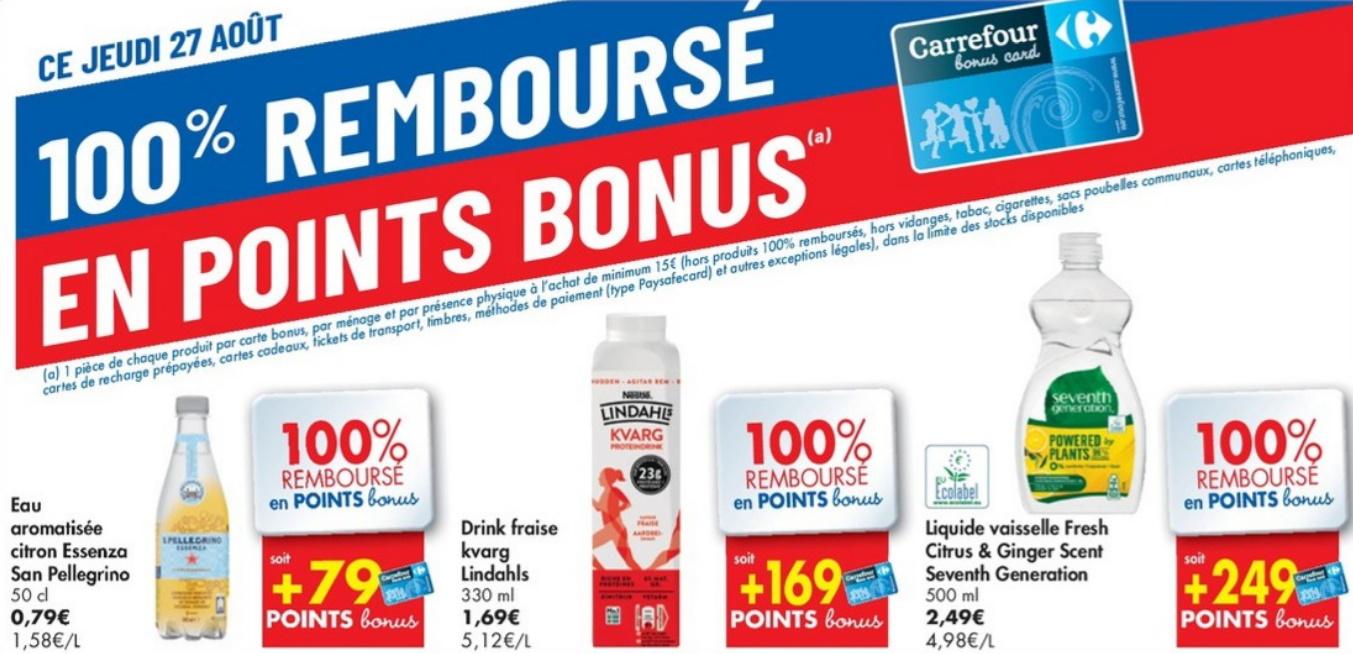 100% terugbetaalde producten bij Carrefour op 27 augustus 2020