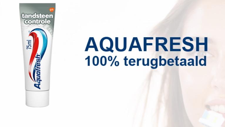 Aquafresh tandsteen controle tandpasta 100% terugbetaald bij Kruidvat