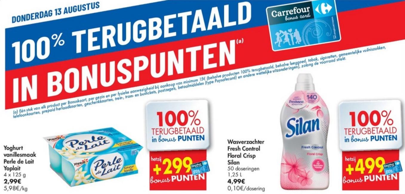 100% terugbetaalde producten bij Carrefour op 13 augustus 2020