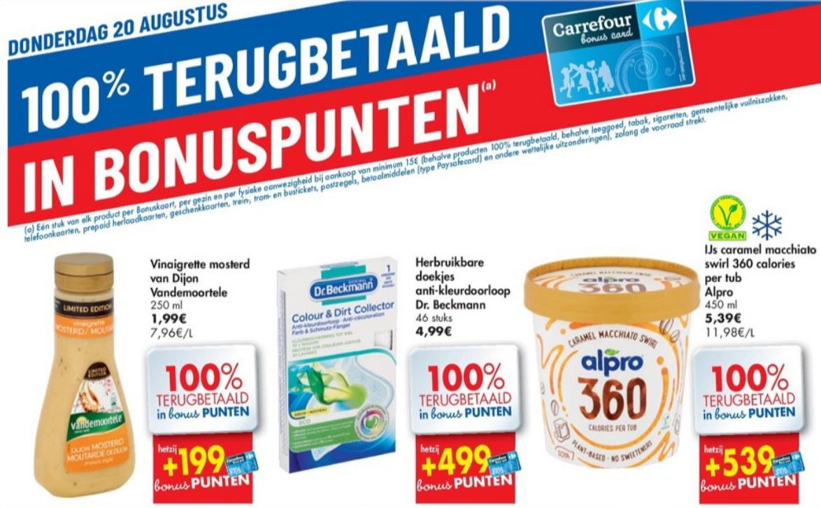 100% terugbetaalde producten bij Carrefour op 20 augustus 2020