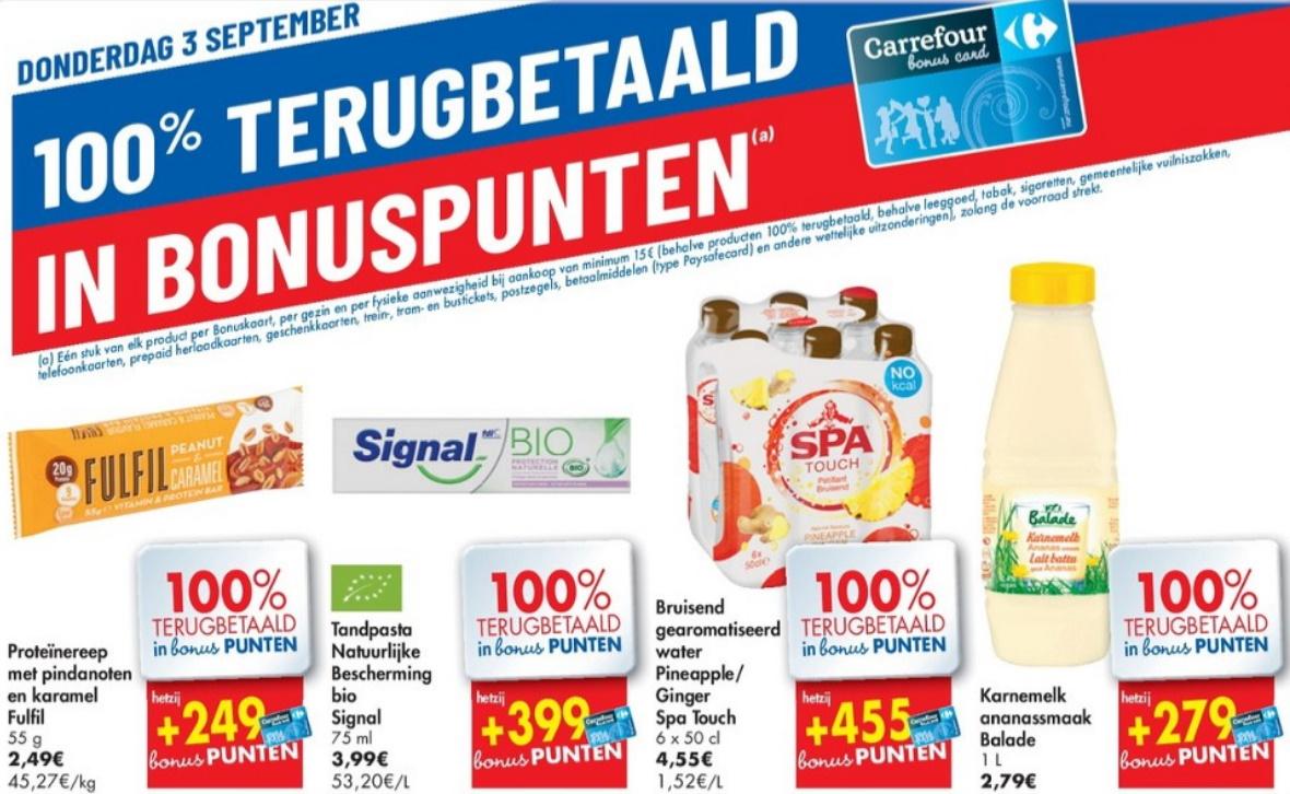 100% terugbetaalde producten bij Carrefour op 3 september