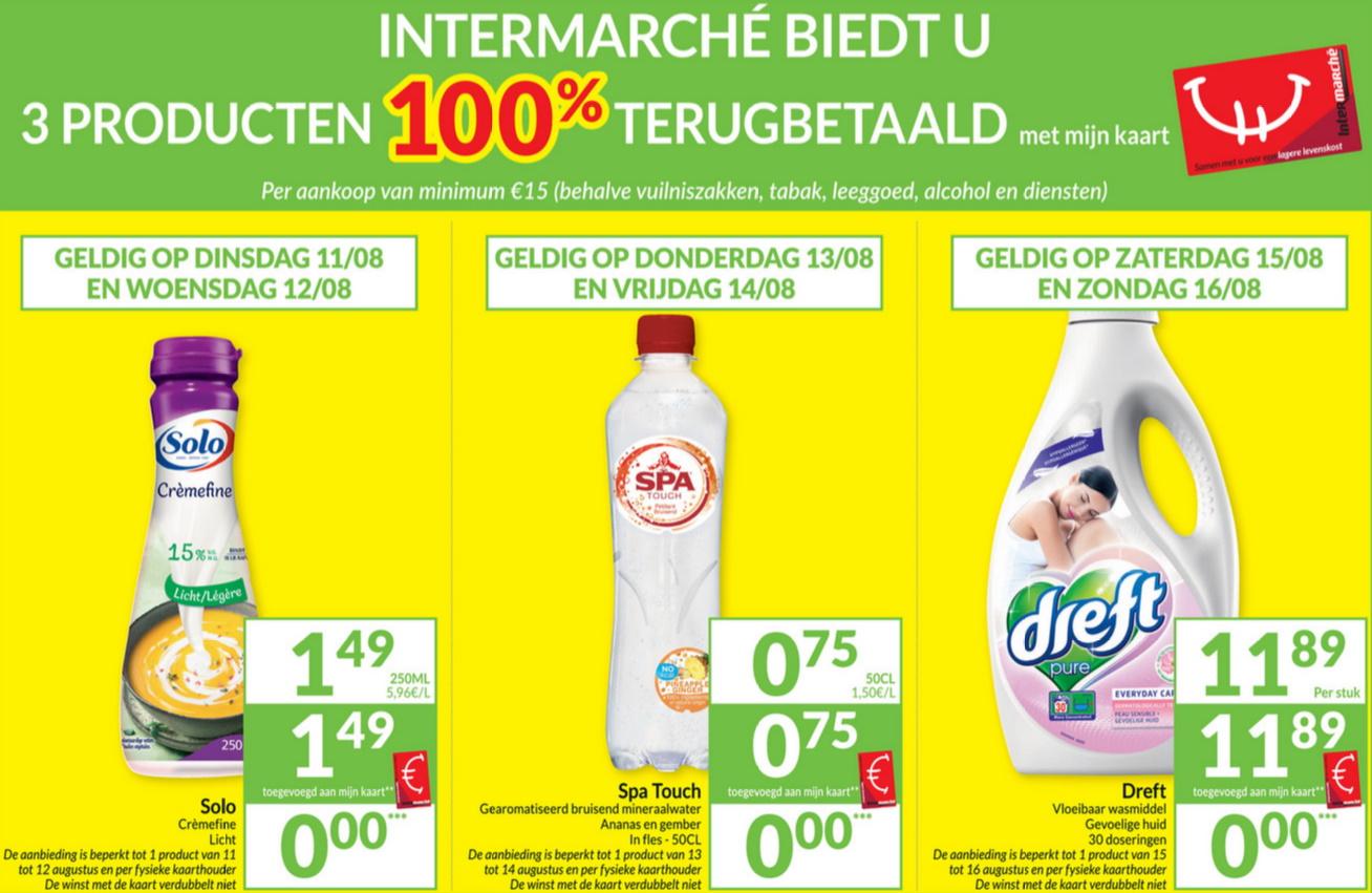 100% terugbetaalde producten bij Intermarché in augustus 2020