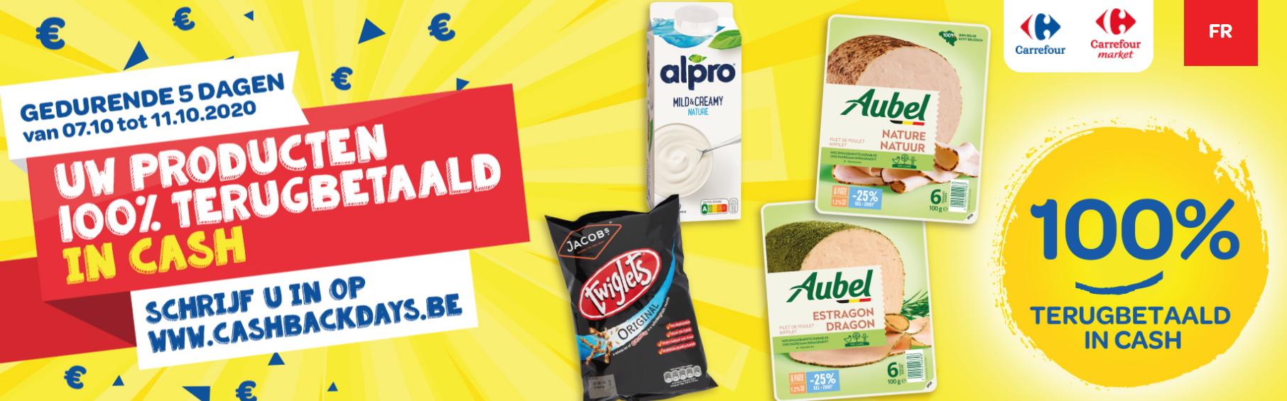 Cashback Days: 100% terugbetaalde producten bij Carrefour