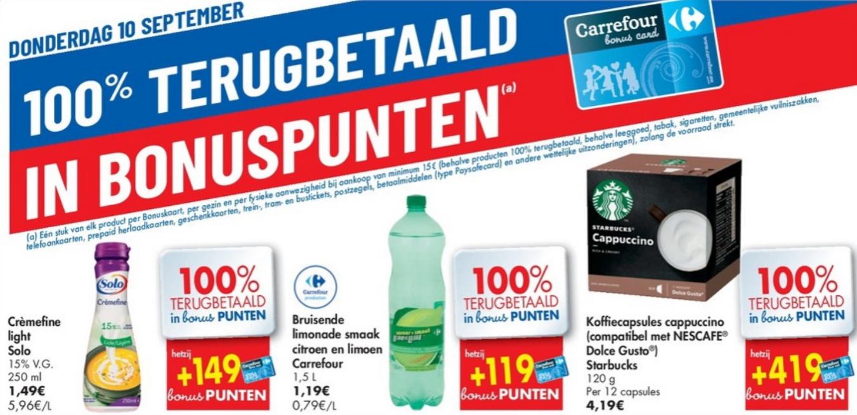 100% terugbetaalde producten bij Carrefour op 10 september 2020