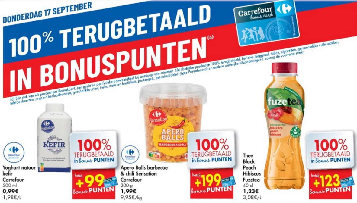 100% terugbetaalde producten bij Carrefour op 17 september 2020