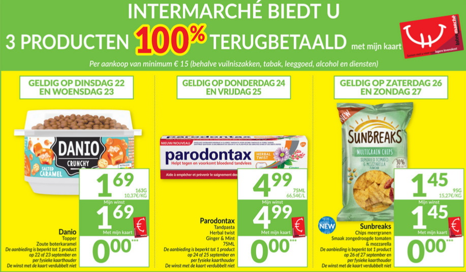 100% terugbetaalde producten bij Intermarché in september 2020