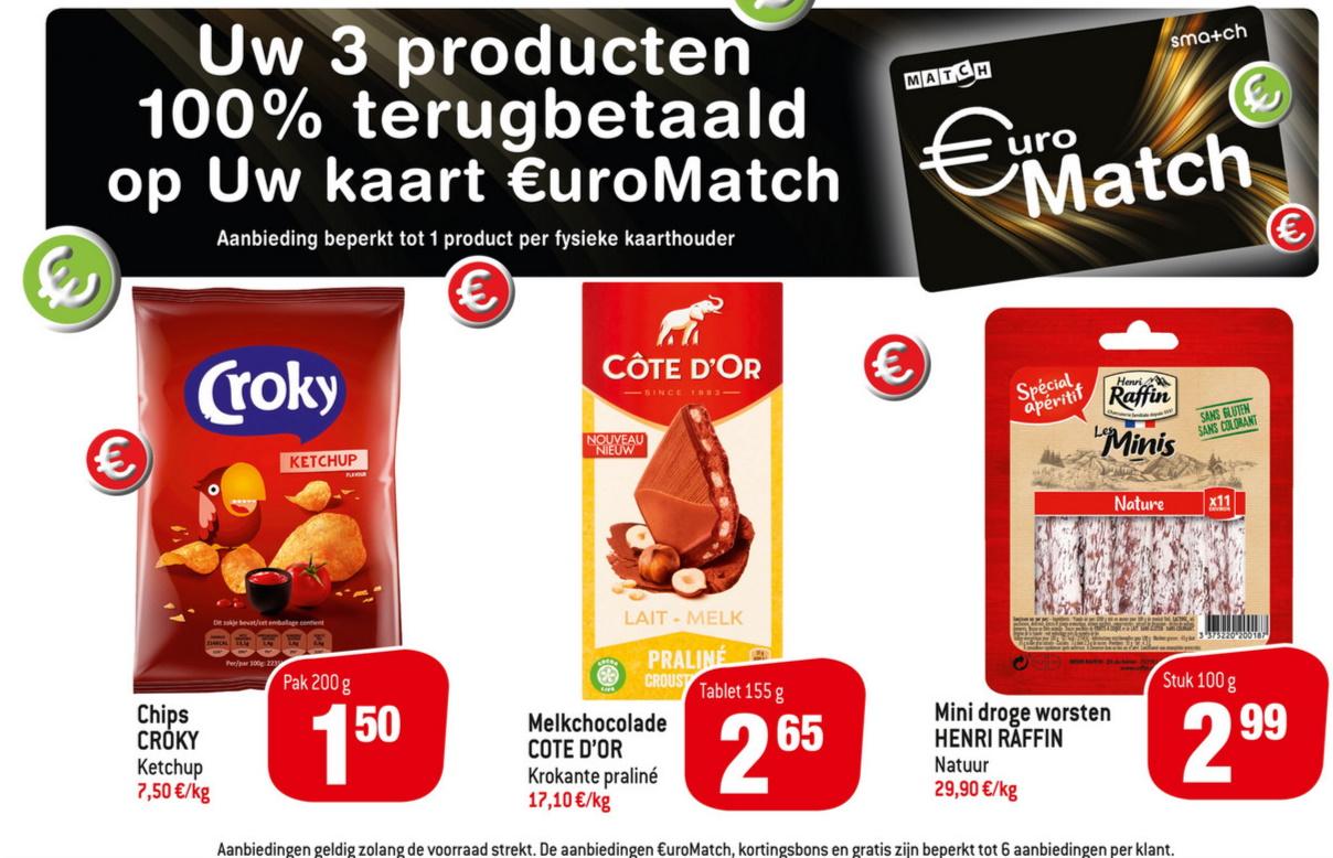 100% terugbetaalde producten bij Match