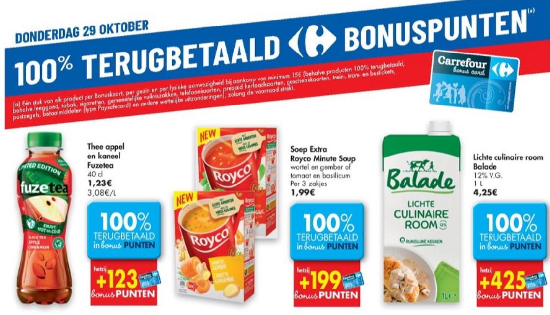 100% terugbetaalde producten bij Carrefour op 29 oktober 2020