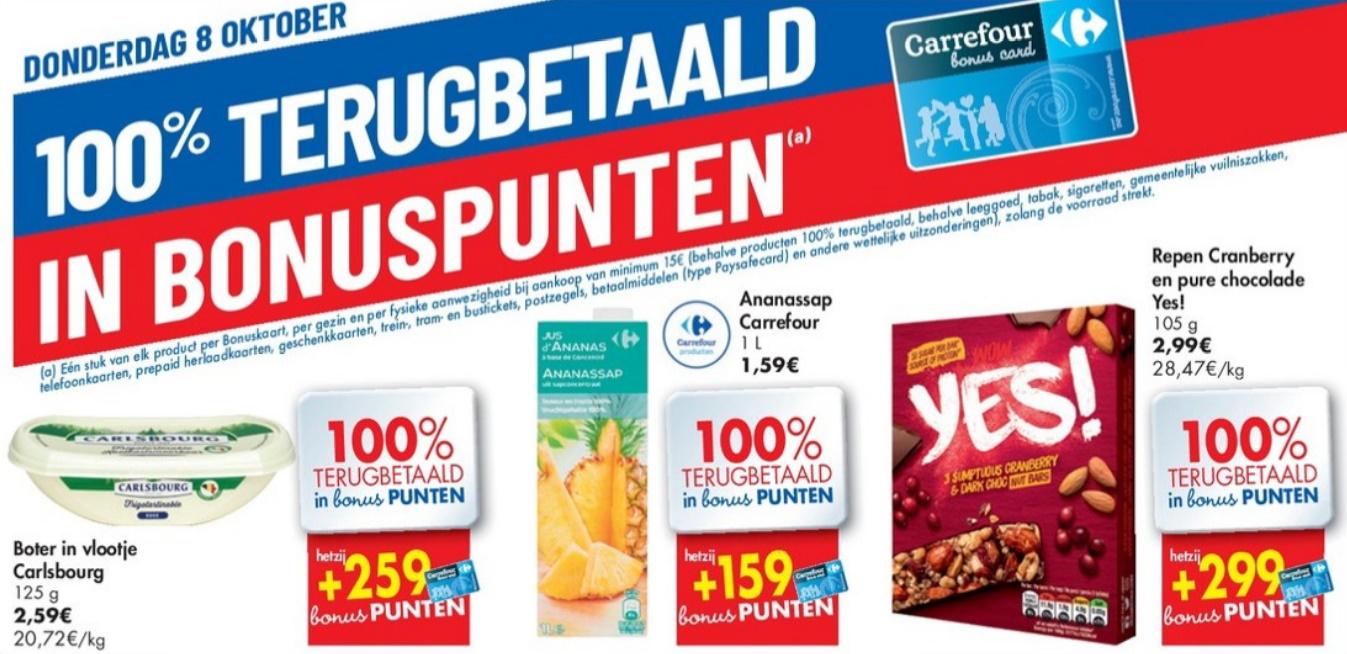 100% terugbetaalde producten bij Carrefour op 8 oktober 2020