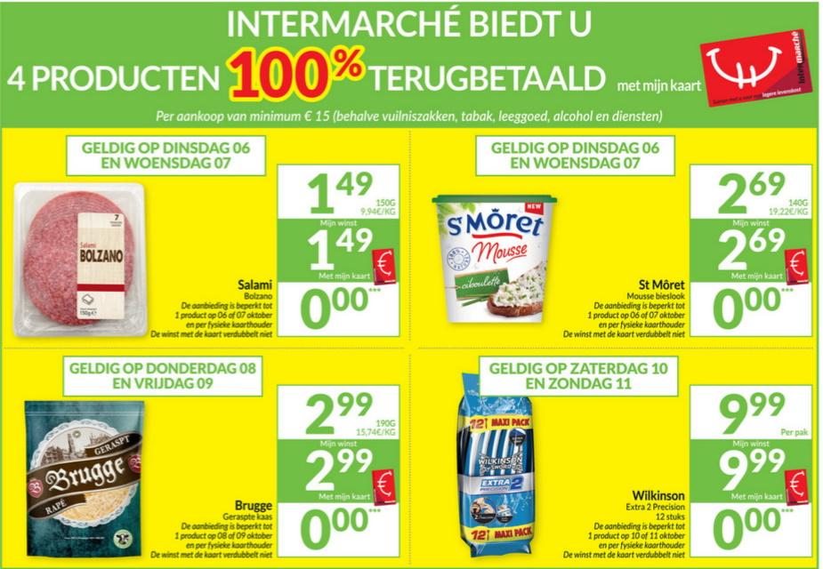 100% terugbetaalde producten bij Intermarché in oktober 2020