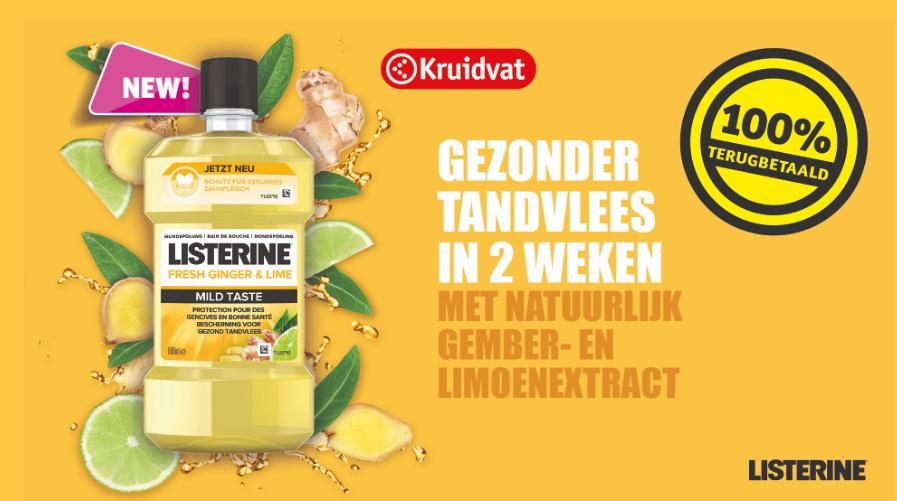 Listerine Fresh Ginger & Lime mondspoeling 100% terugbetaald