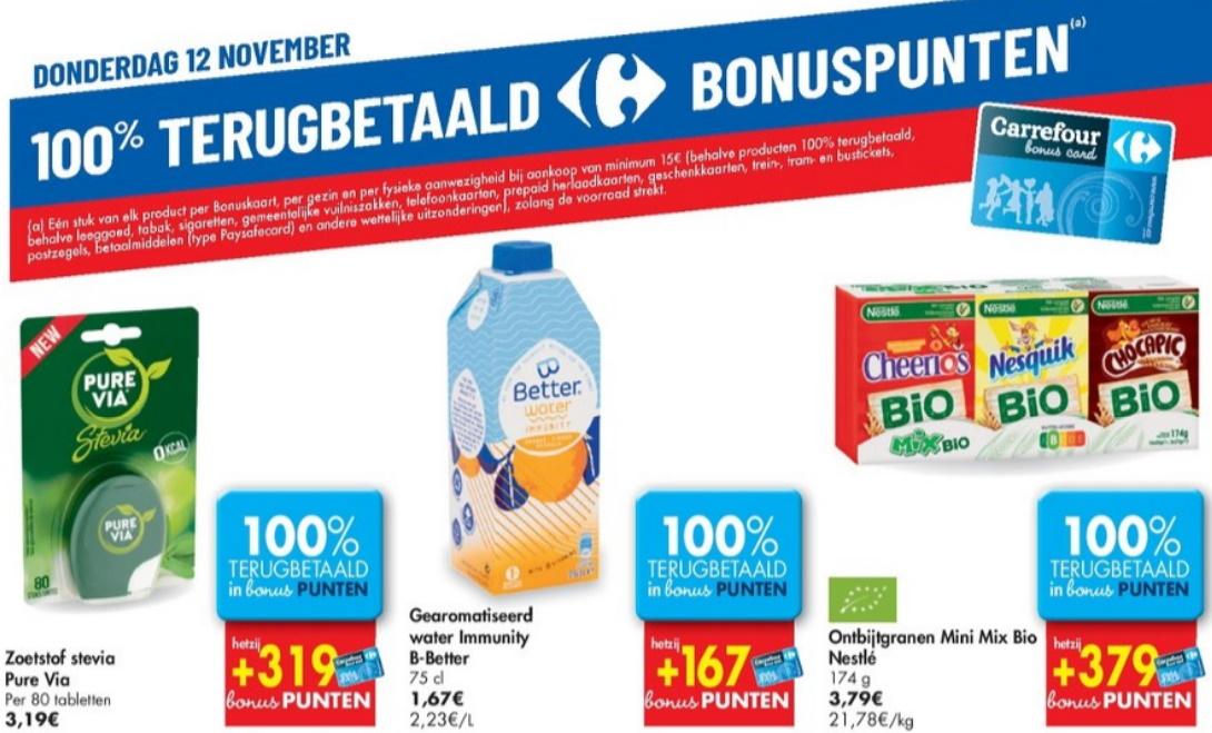 100% terugbetaalde producten bij Carrefour op 12 november 2020