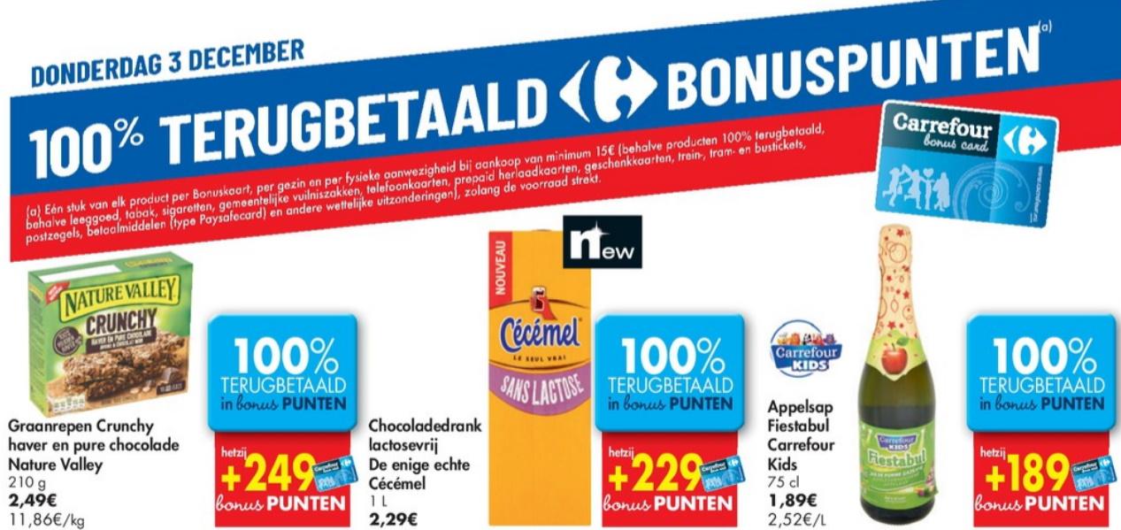 100% terugbetaalde producten bij Carrefour op 3 december 2020