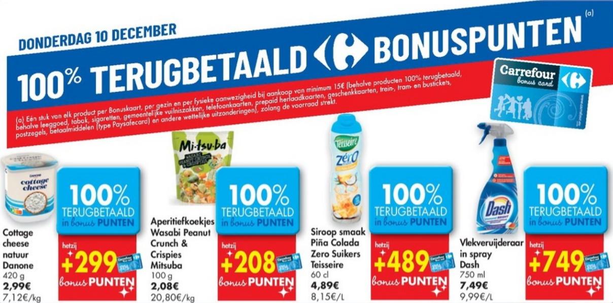 100% terugbetaalde producten bij Carrefour op 10 december 2020