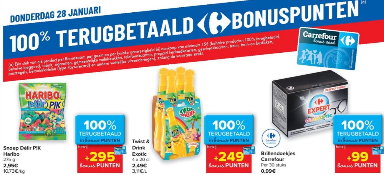 100% terugbetaalde producten bij Carrefour op 28 januari 2021