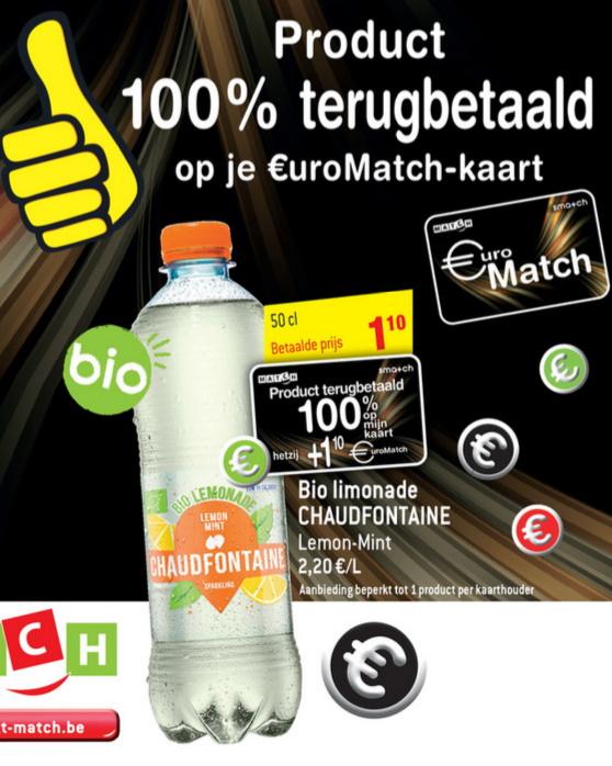 Chaudfontaine bio limonade 100% terugbetaald bij Match