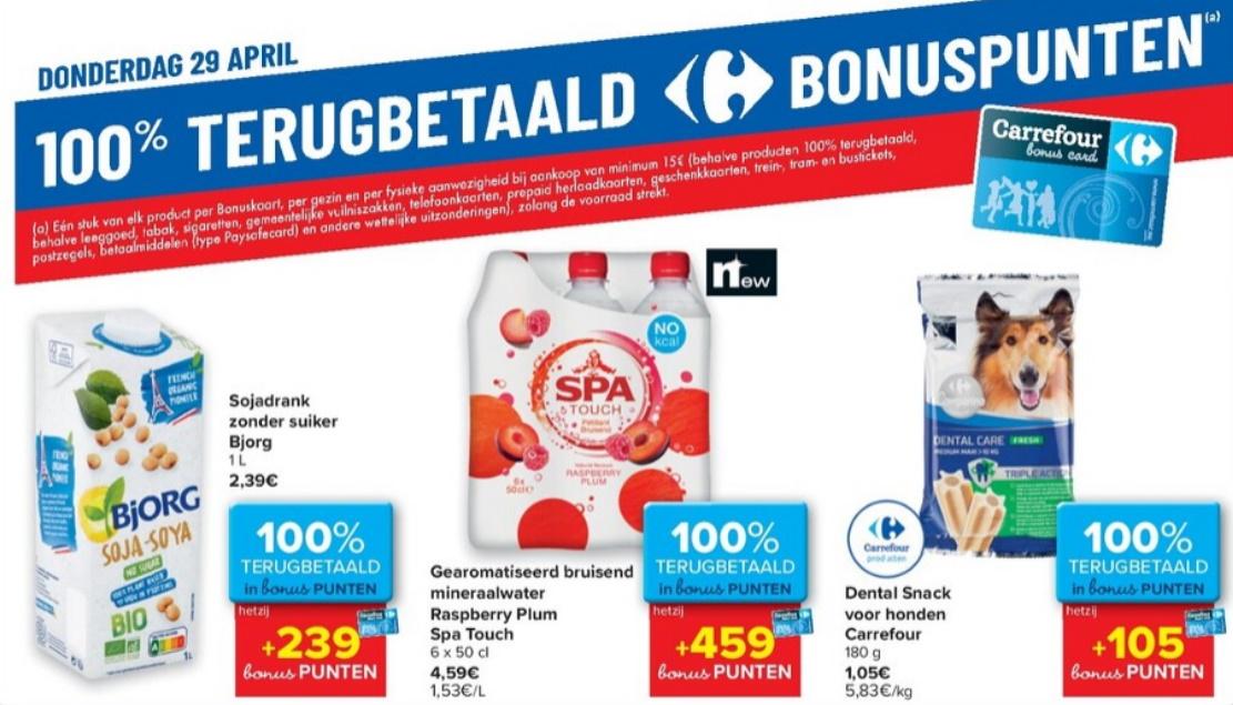 100% terugbetaalde producten bij Carrefour op 29 april 2021