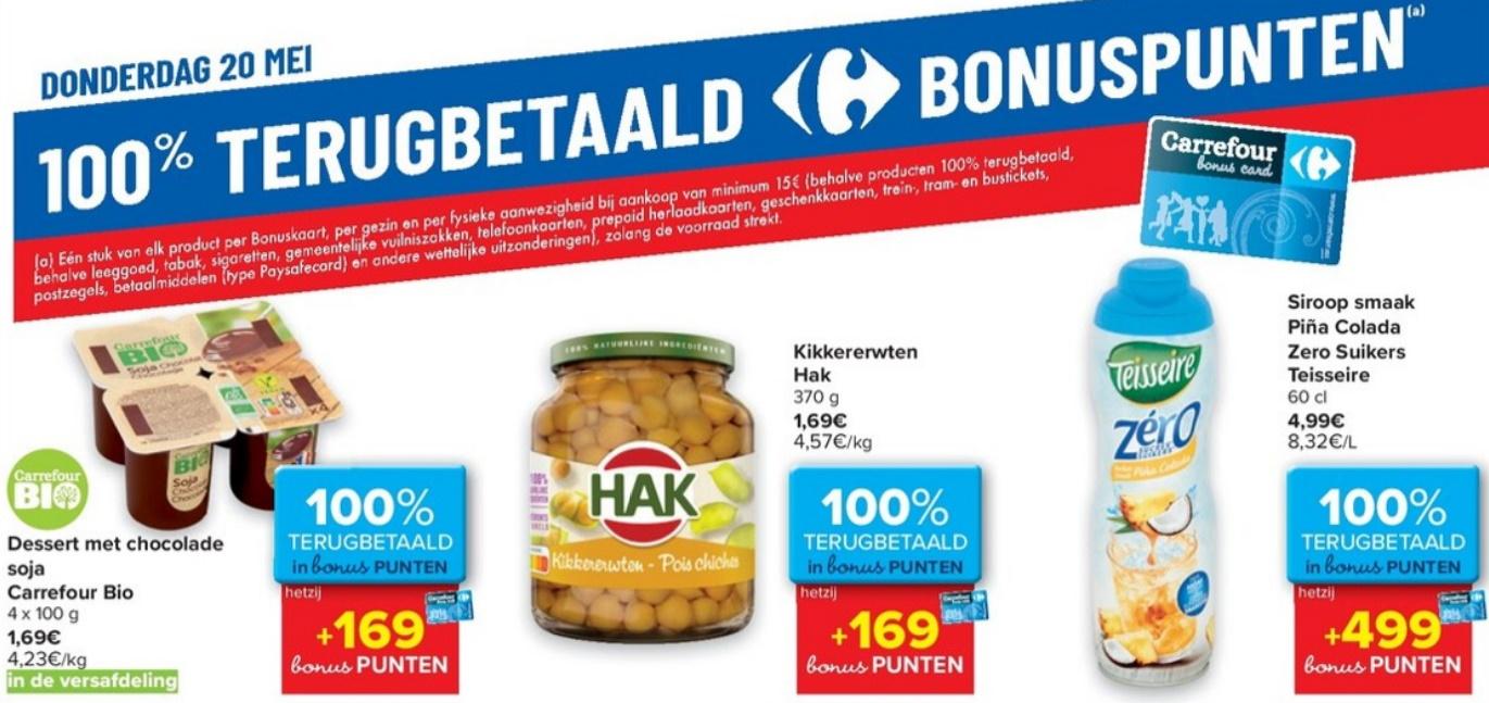 100 terugbetaalde producten bij Carrefour op donderdag 20 mei 2021