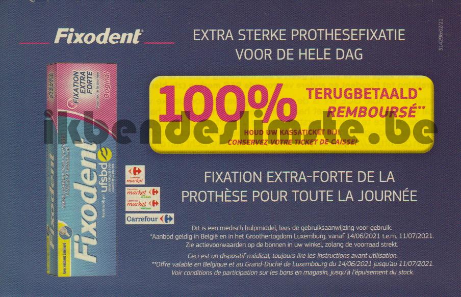 Fixodent zelfklevende crème voor tandprothese 100% terugbetaald