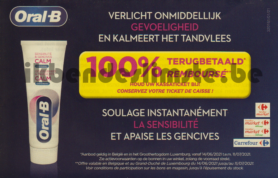 Oral-B Calm tandpasta 100% terugbetaald