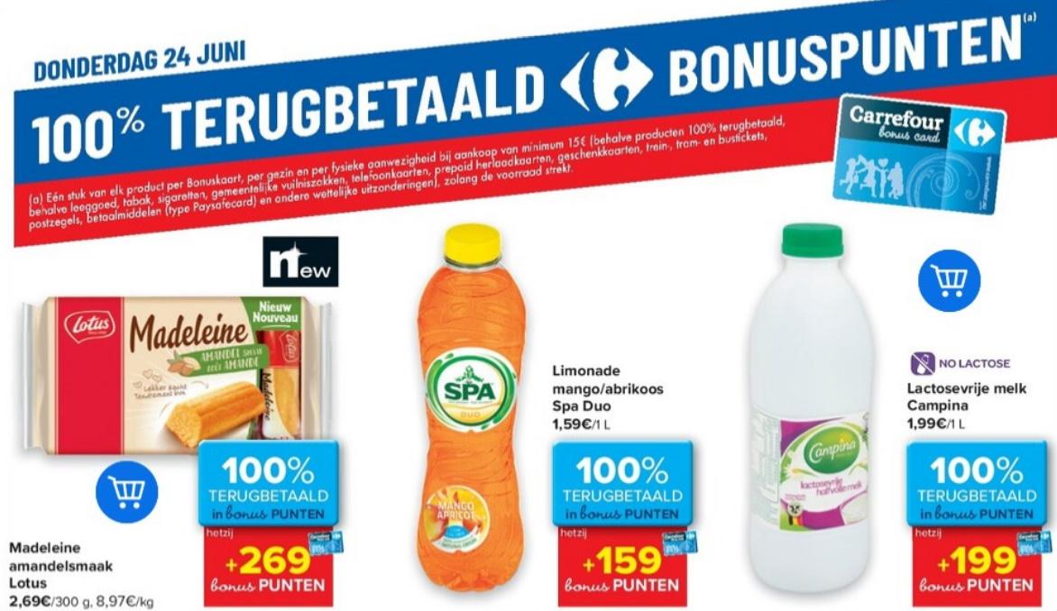 100% terugbetaalde producten bij Carrefour op 24 juni 2021