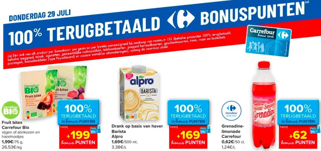 100% terugbetaalde producten bij Carrefour op 29 juli 2021