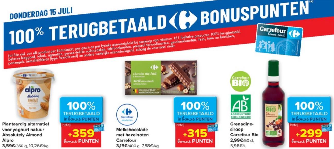 100% terugbetaalde producten bij Carrefour op 15 juli 2021