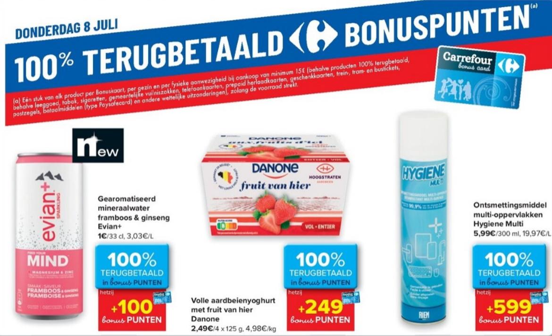 100% terugbetaalde producten bij Carrefour op 8 juli 2021