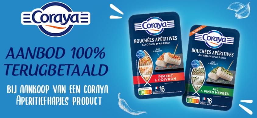 Coraya aperitiefhapjes 100% terugbetaald