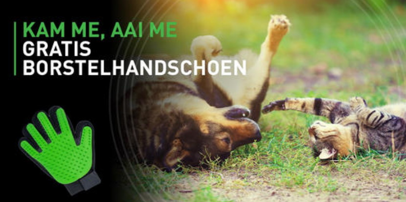 Gratis borstelhandschoen voor honden of katten