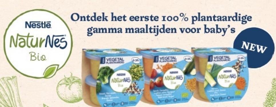 Naturnes bio plantaardige maaltijd voor baby's 100% terugbetaald
