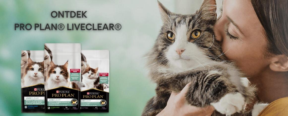 Test gratis de Purina Pro Plan Liveclear  kattenvoeding