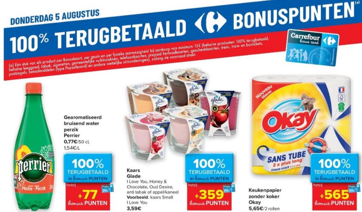 100% terugbetaalde producten bij Carrefour op 5 augustus 2021