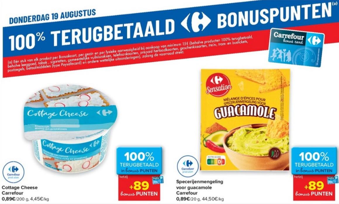 100% terugbetaalde producten bij Carrefour op 19 augustus 2021