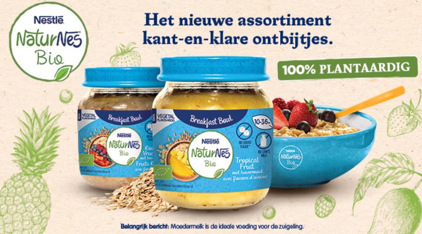 Babypotjes ontbijt NaturNes Bio van Nestlé 100% terugbetaald