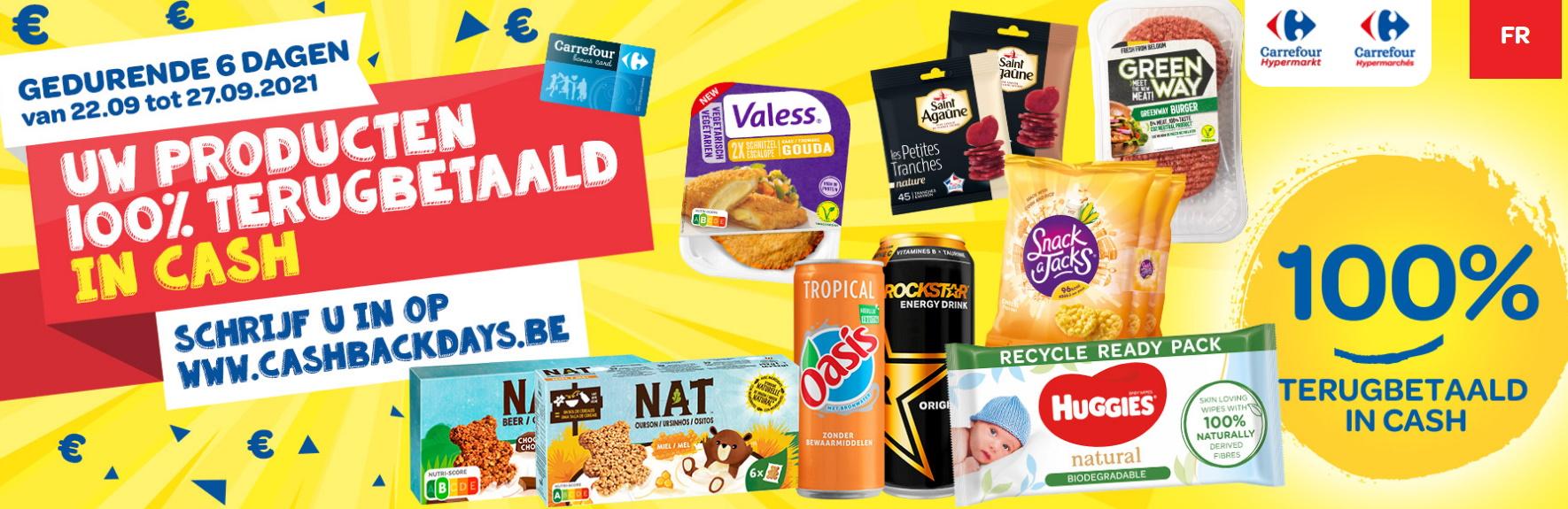 Cashbackdays: gratis producten bij Carrefour