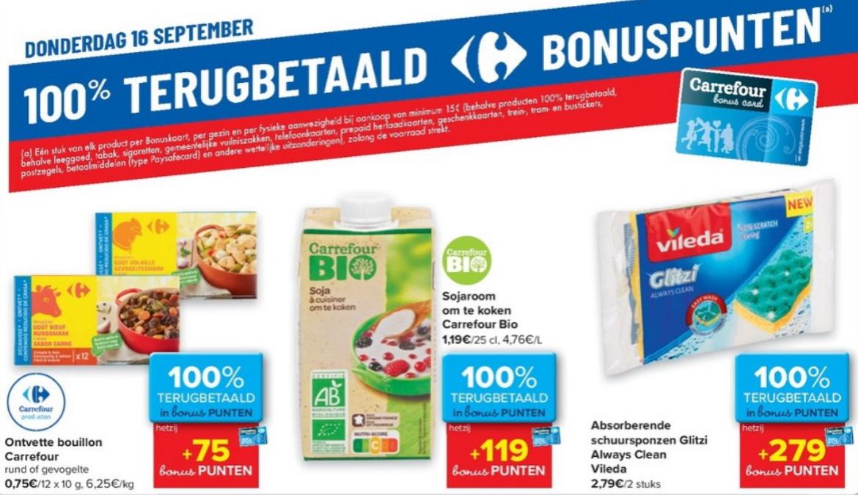 100% terugbetaalde producten bij Carrefour op 16 september 2021