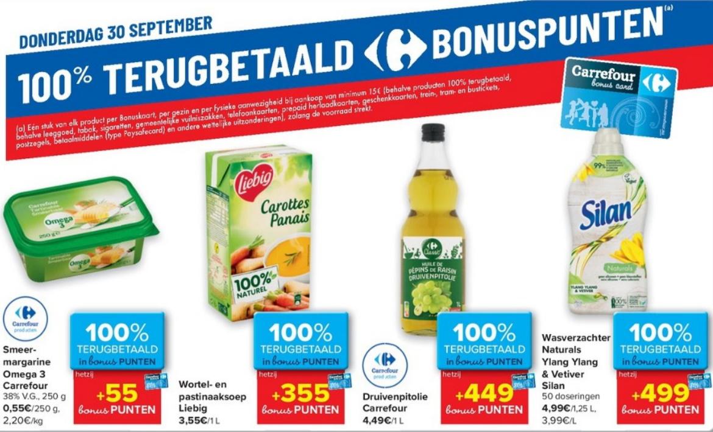 100% terugbetaalde producten bij Carrefour op 30 september 2021