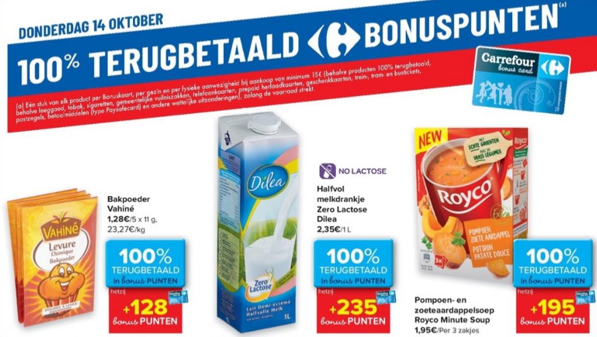 100% terugbetaalde producten bij Carrefour op 14 oktober 2021